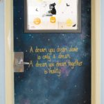 Room 612's door with Sky with stars and milky way