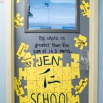 Room 606's Door with puzzle pieces named for parts of learning