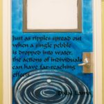Room 407's door with ripples circling out from dropped pebble in water