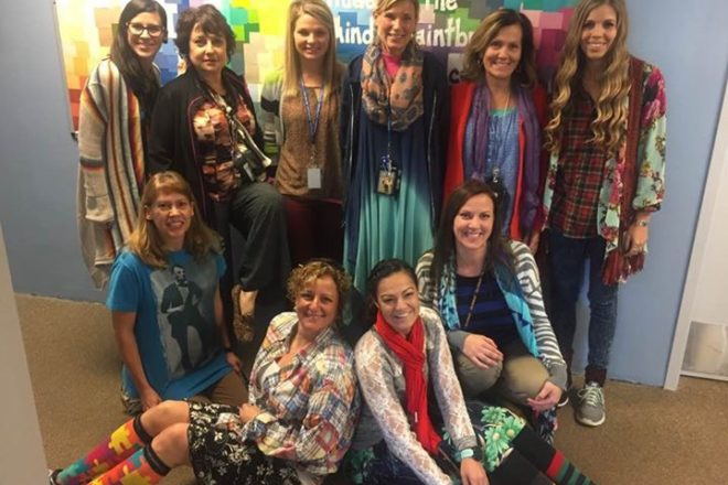 Jen staff in their miss-matched finest for Spirit Week