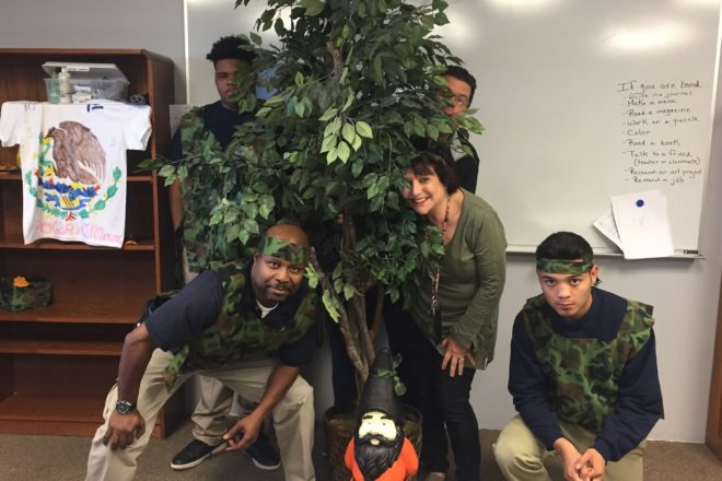 The transition team in room 606 dressed in a jungle theme for Spirit Week