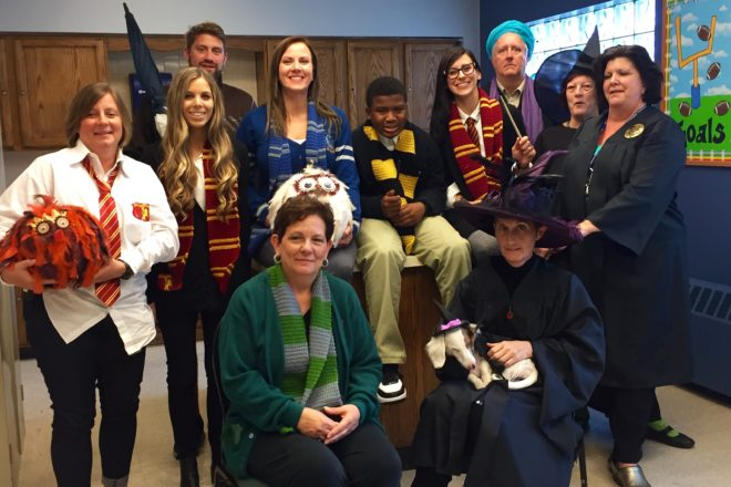 Junior high team and other staff dressed as Harry Potter characters for Spirit Week